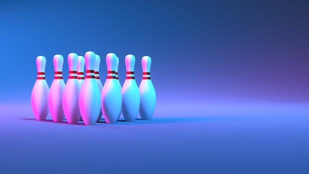 Кегли в неоновом освещении крупным планом, 3d иллюстрация