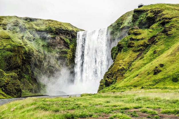 Skogafoss waterfall in iceland in summer.