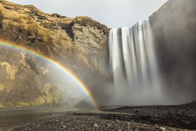 Skogafoss waterfall and rainbow in iceland