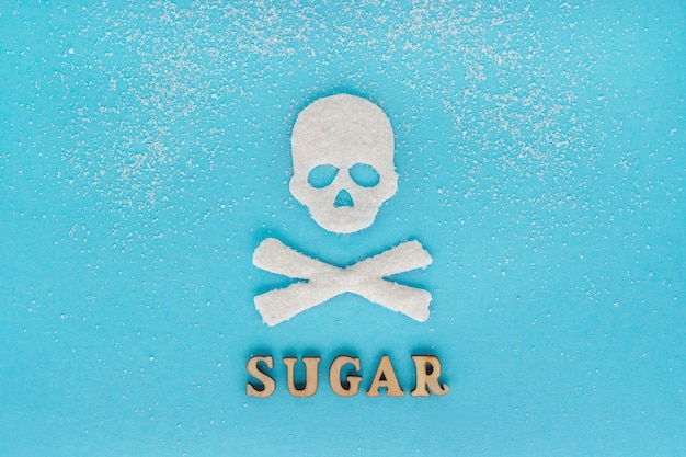 Skull bones sugar, scattering of granulated sugar, text sugar