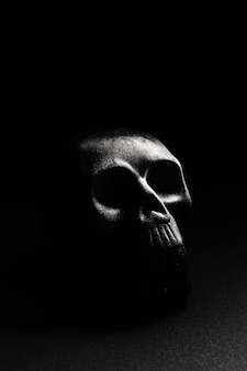 A skull on a dark background, lying on a flat surface