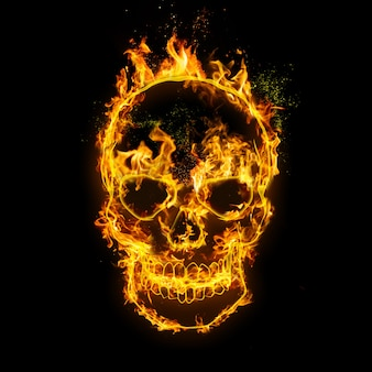 Skull. fire flames on black , realistic fire effect with sparks