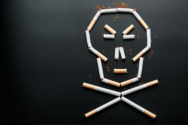 Skull from cigarettes. the concept of smoking kills. toward the concept of smoking as a deadly habit, nicotine poisons, cancer from smoking, illness, quit smoking.
