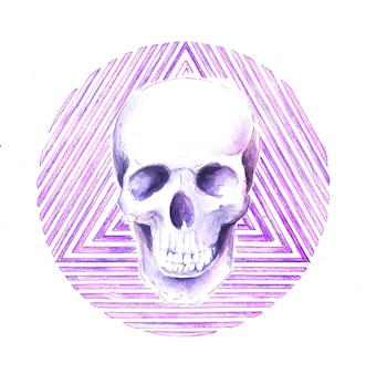 Skull geometric circle and triangle watercolor illustration