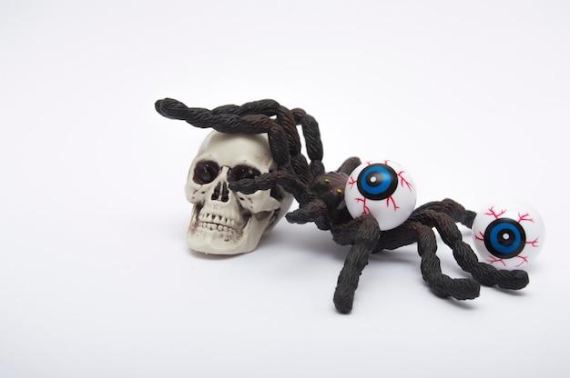 Skull and halloween eyes isolated on white background.