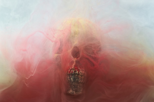 Skull and ink in water