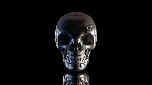 Skull is made of metal in the dark night. which has only light on the side and clipping path. still life style, 3d render.