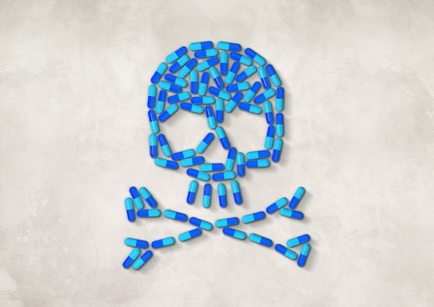 Skull made of blue capsule pills isolated on white concrete background. 3d illustration