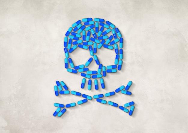 白いコンクリートの背景に分離された青いカプセルの丸薬で作られた頭蓋骨。 3dイラスト