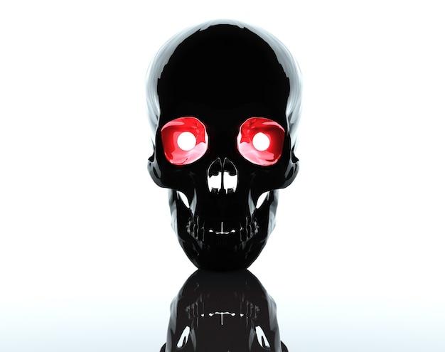 背景と赤い目で頭蓋骨3dレンダリング