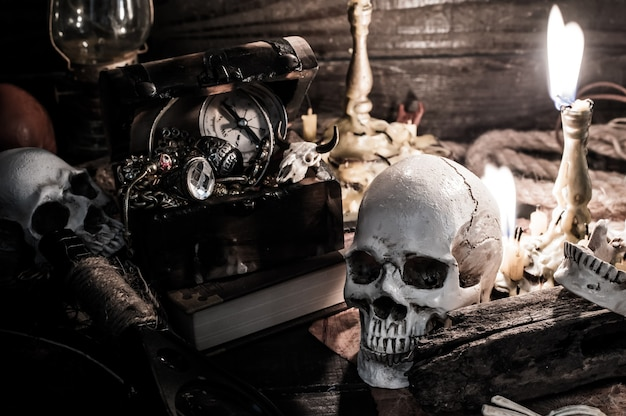 Skull and scary scene for halloween