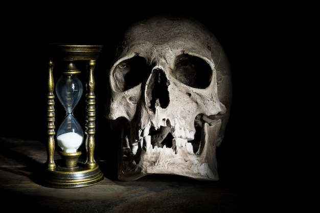Skull and vintage hourglass
