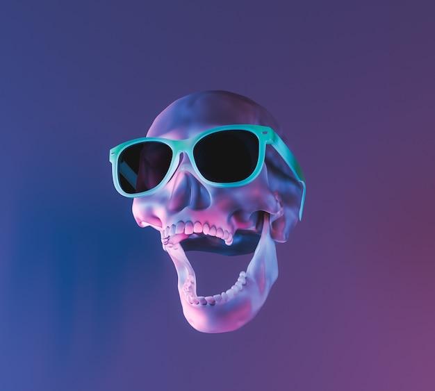 Череп с неоновым освещением и солнцезащитные очки