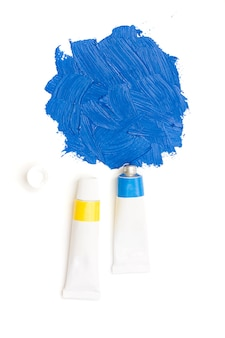 Sky blue squeezed artistic's paint tube