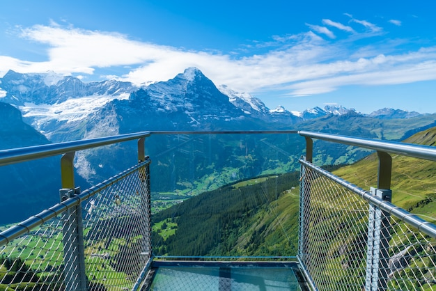 Sky cliff walk on first peak of alps mountain at grindelwald switzerland