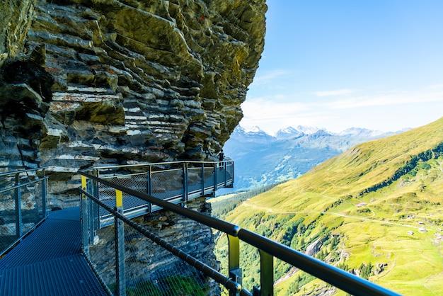Sky cliff walk on first peak of alps mountain