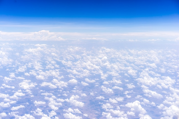 Sky and clouds background. view from the window in the plane.
