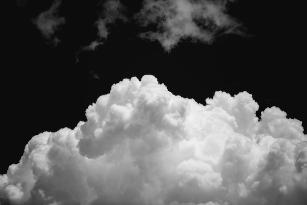 Sky and clouds isolated on black background, closeup cumulus cloud black and white image, nimbostratus on black sky