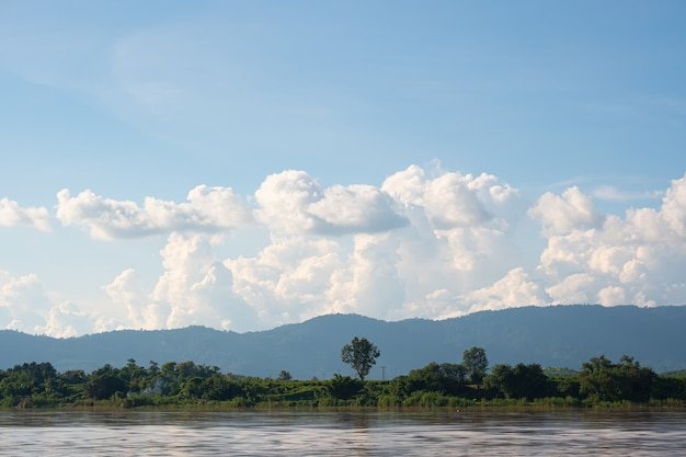 Sky has clouds and the mekong river. blue sky and cloud.