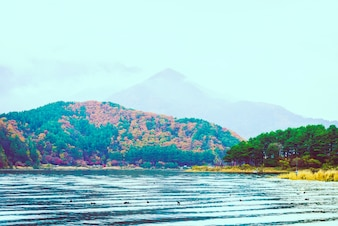 Sky lake mount fuji water