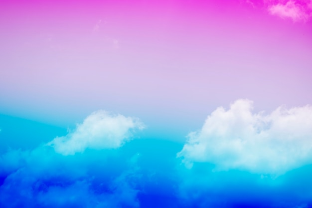 Sky pink and blue clouds