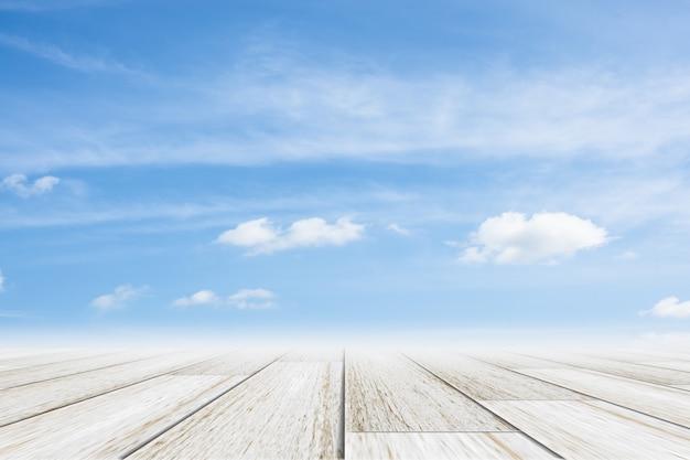 Sky scene with wooden floor