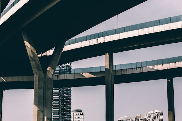 Sky street , overpass on background of blue sky in thailand