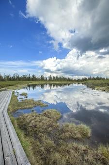 Il cielo con le nuvole scure riflesse nel lago di ribnica in slovenia