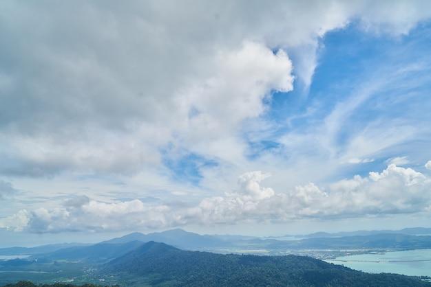 Небо с белыми и синими облаками