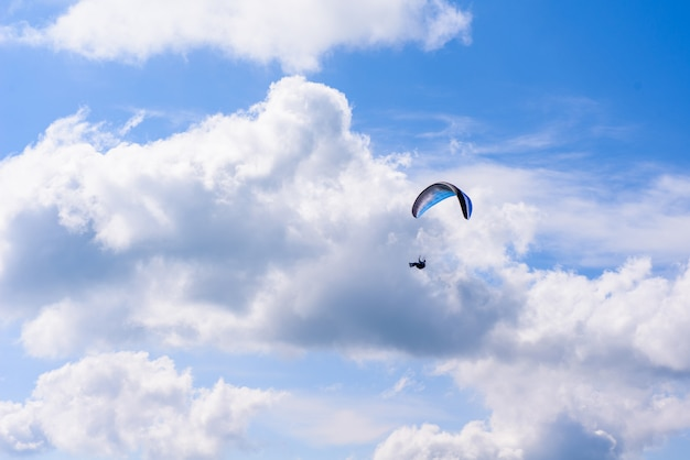 Skydiver in the clear sky