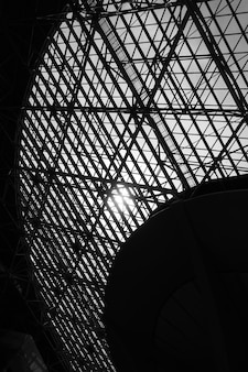 Skylight window -  abstract architectural background with space for text. black and white image