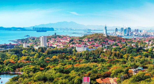 Skyline of architectural landscape in old town of qingdao