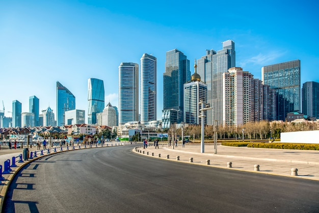 The skyline of architectural landscape of qingdao seaside city