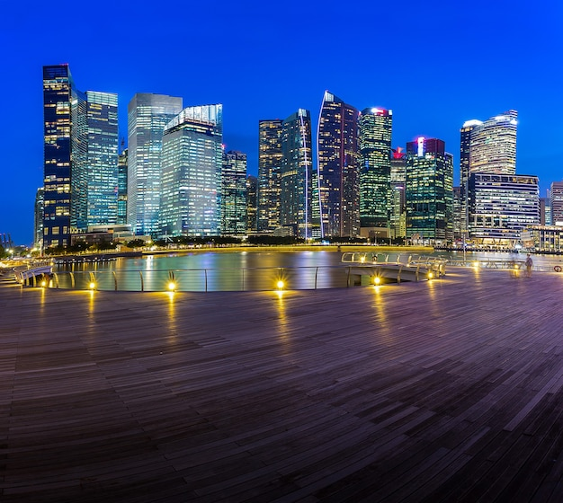 Skyline building of singapore in twilight time