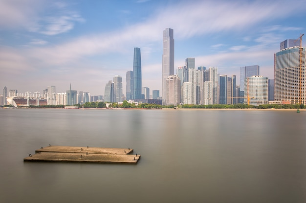 Skyline and buildings new city from river with modern city landmark architecture in guangzhou china