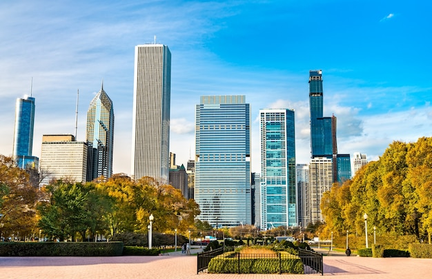 Skyline of chicago at grant park in illinois united states