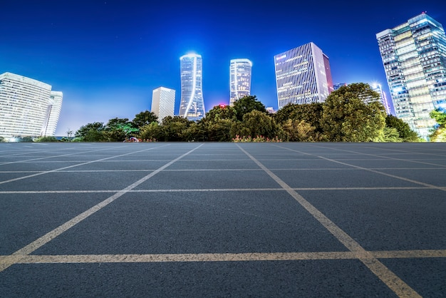 Skyline of expressway pavement and night scenery of modern architectural landscape