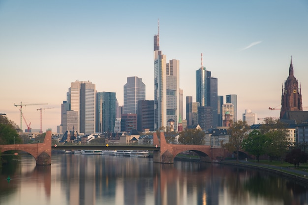 Skyline of frankfurt city in germany. frankfurt is financial center city of germany.
