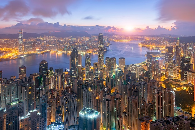 Skyline hongkong city sunrise frome the peak