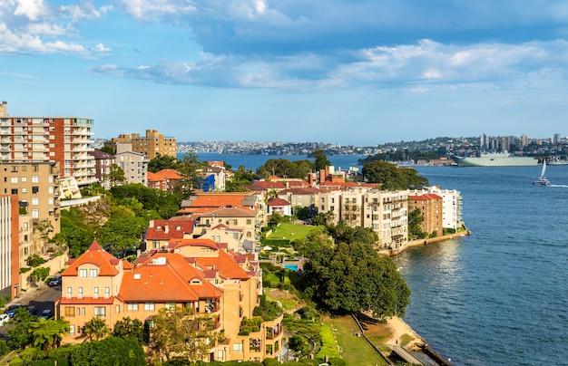 일몰 kirribilli의 스카이 라인-시드니, 호주