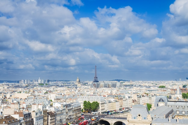 Skyline of paris city roofs with eiffel tower from above at summer day, france