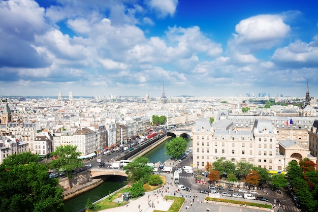 Skyline of paris city at sunny summer day, france, retro toned
