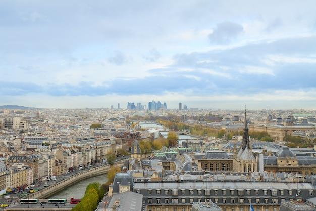 Skyline of paris city towards la defense district, france