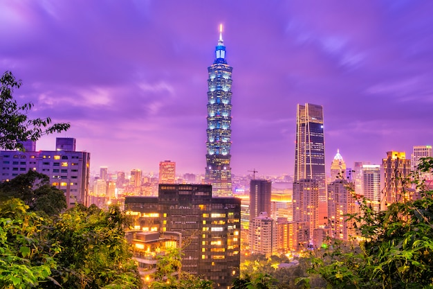 Skyline of taipei city at sunset
