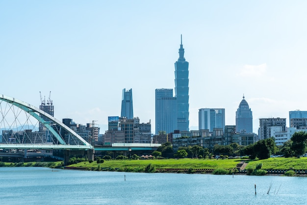 Skyline of taipei with the river and a bridge