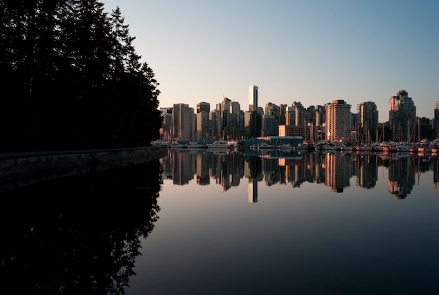 Skyline at twilight in vancouver, british columbia, canada