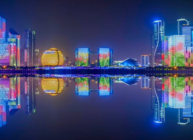 The skyline of urban architectural landscape in hangzhou, china
