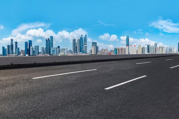 The skyline of the urban skyline of qingdao expressway
