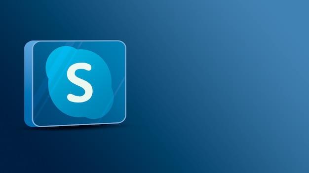 유리 플랫폼의 skype 로고 3d