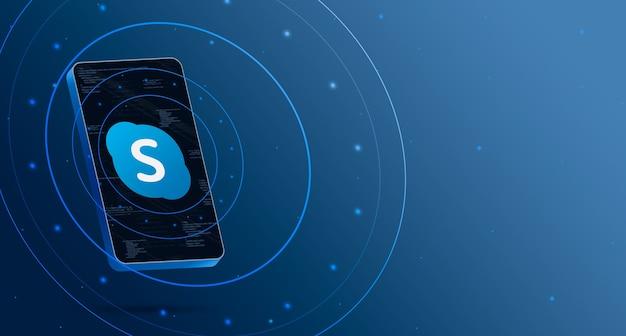 기술 디스플레이가있는 전화의 skype 로고, 스마트 3d 렌더링